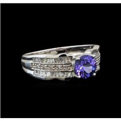 14KT White Gold 0.85 ctw Tanzanite and Diamond Ring