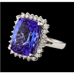 11.13 ctw Tanzanite Stone and Diamond Ring - 14KT White Gold