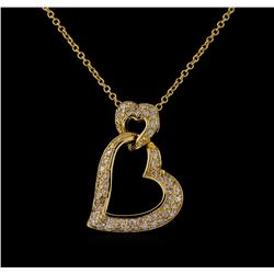0.45 ctw Diamond Pendant With Chain - 14KT Yellow Gold