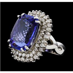 16.64 ctw Tanzanite and Diamond Ring - 14KT White Gold