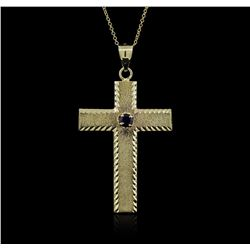 14KT Yellow Gold 0.25 ctw Sapphire Cross Pendant With Chain
