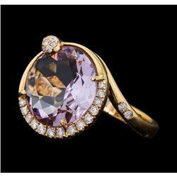 5.70 ctw Lavender Quartz and Diamond Ring - 18KT Rose Gold