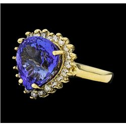 8.84 ctw Tanzanite and Diamond Ring - 14KT Yellow Gold