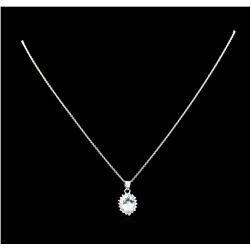 2.48 ctw Aquamarine and Diamond Pendant With Chain - 14KT White Gold