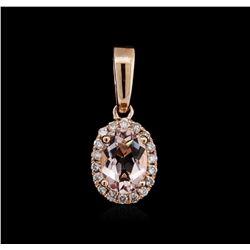 14KT Rose Gold 0.69 ctw Morganite and Diamond Pendant