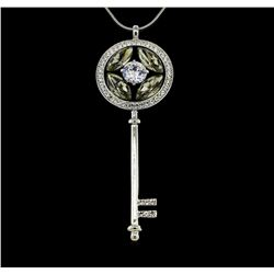 Crystal Key Necklace - Silver Plated