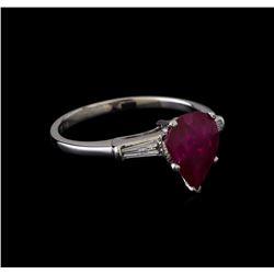 1.86 ctw Ruby and Diamond Ring - Platinum