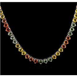 33.56 ctw Multi Color Sapphire Necklace - 14KT White Gold