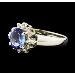 0.71 ctw Sapphire and Diamond Ring - Platinum