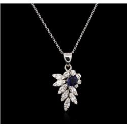 0.87 ctw Blue Sapphire and Diamond Pendant With Chain - 14KT White Gold