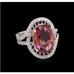 4.89 ctw Tourmaline and Diamond Ring - 14KT White Gold