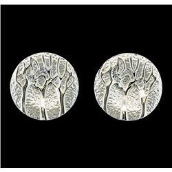 Branch Medallion Earrings - Rhodium Plated