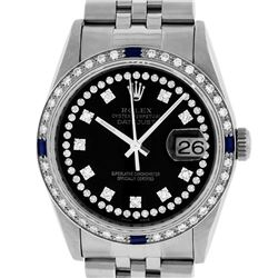 Rolex Mens SS Black String VVS Diamond And Sapphire Datejust Wristwatch