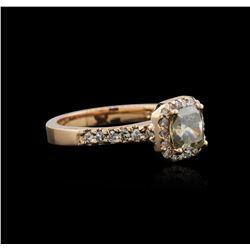 14KT Rose Gold 1.42 ctw Fancy Green Diamond Ring