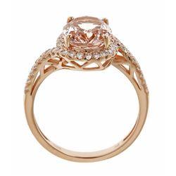 2.09 ctw Morganite and Diamond Ring - 14KT Rose Gold