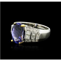 14KT Two-Tone Gold 3.91 ctw Tanzanite and Diamond Ring