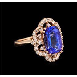 3.83 ctw Tanzanite and Diamond Ring - 14KT Rose Gold