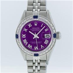 Rolex Stainless Steel Purple Roman Diamond and Sapphire DateJust Ladies Watch