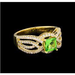 0.92 ctw Tsavorite and Diamond Ring - 14KT Yellow Gold