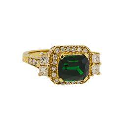 3.84 ctw Tsavorite and Diamond Ring - 14KT Yellow Gold