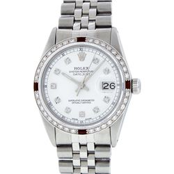 Rolex Stainless Steel Diamond and Ruby DateJust Men's Wristwatch