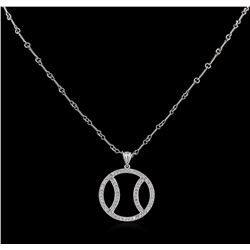 1.00 ctw Basketball Diamond Pendant With Chain - 14KT White Gold