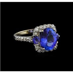 4.23 ctw Tanzanite and Diamond Ring - 14KT White Gold