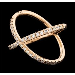 0.48 ctw Diamond X Ring - 14KT Rose Gold