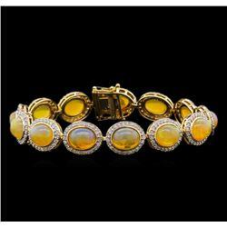 17.96 ctw Opal and Diamond Bracelet - 14KT Yellow Gold