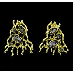 Gold Branches Crystal Earrings - Gold Plated