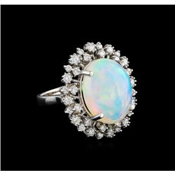 11.69 ctw Opal and Diamond Ring - 14KT White Gold