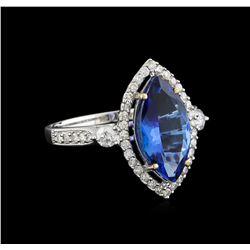 14KT White Gold 3.02 ctw Tanzanite and Diamond Ring