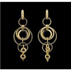 0.60 ctw Diamond Earrings - 18KT Yellow Gold