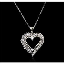 10KT White Gold 0.50 ctw Diamond Heart Pendant With Chain