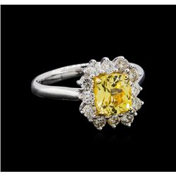 GIA Cert 1.89 ctw Yellow Sapphire and Diamond Ring - 18KT White Gold