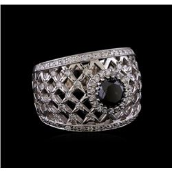 2.36 ctw Black Diamond Ring - 14KT White Gold