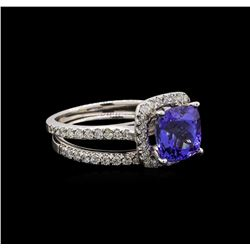 14KT White Gold 3.04 ctw Tanzanite and Diamond Wedding Ring Set