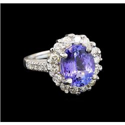 14KT White Gold 3.82 ctw Tanzanite and Diamond Ring