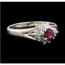 0.31 ctw Ruby and Diamond Ring - Platinum