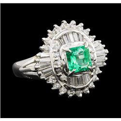 0.58 ctw Emerald and Diamond Ring - Platinum