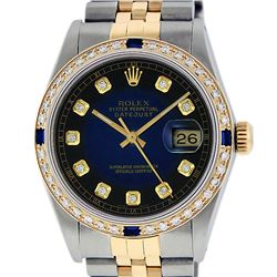 Rolex Mens 2T Blue Vignette Diamond And Sapphire Datejust Wristwatch
