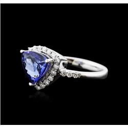 14KT White Gold 1.95 ctw Tanzanite and Diamond Ring