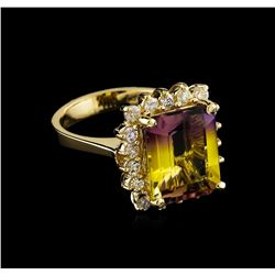 5.04 ctw Ametrine and Diamond Ring - 14KT Yellow Gold