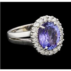 3.75 ctw Tanzanite and Diamond Ring - 14KT White Gold