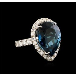 14KT White Gold 15.46 ctw Topaz and Diamond Ring