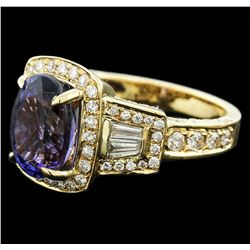 14KT Yellow Gold 3.11 ctw Tanzanite and Diamond Ring