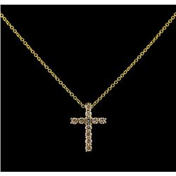 0.34 ctw Diamond Cross Pendant With Chain - 14KT Yellow Gold