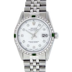 Rolex Stainless Steel Diamond and Emerald DateJust Men's Watch