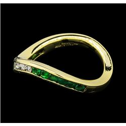 0.60 ctw Emerald and Diamond Ring - 18KT Yellow Gold