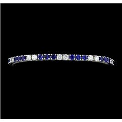 5.50 ctw Blue Sapphire And Diamond Bracelet - 14KT White Gold